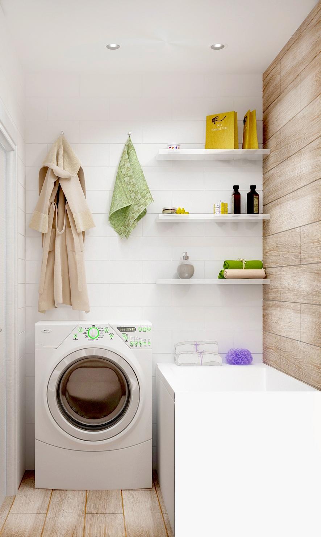 Дизайн ванной комнаты 3 кв.м, стиральная машинка, подвесные полки, ванна, керамическая плитка