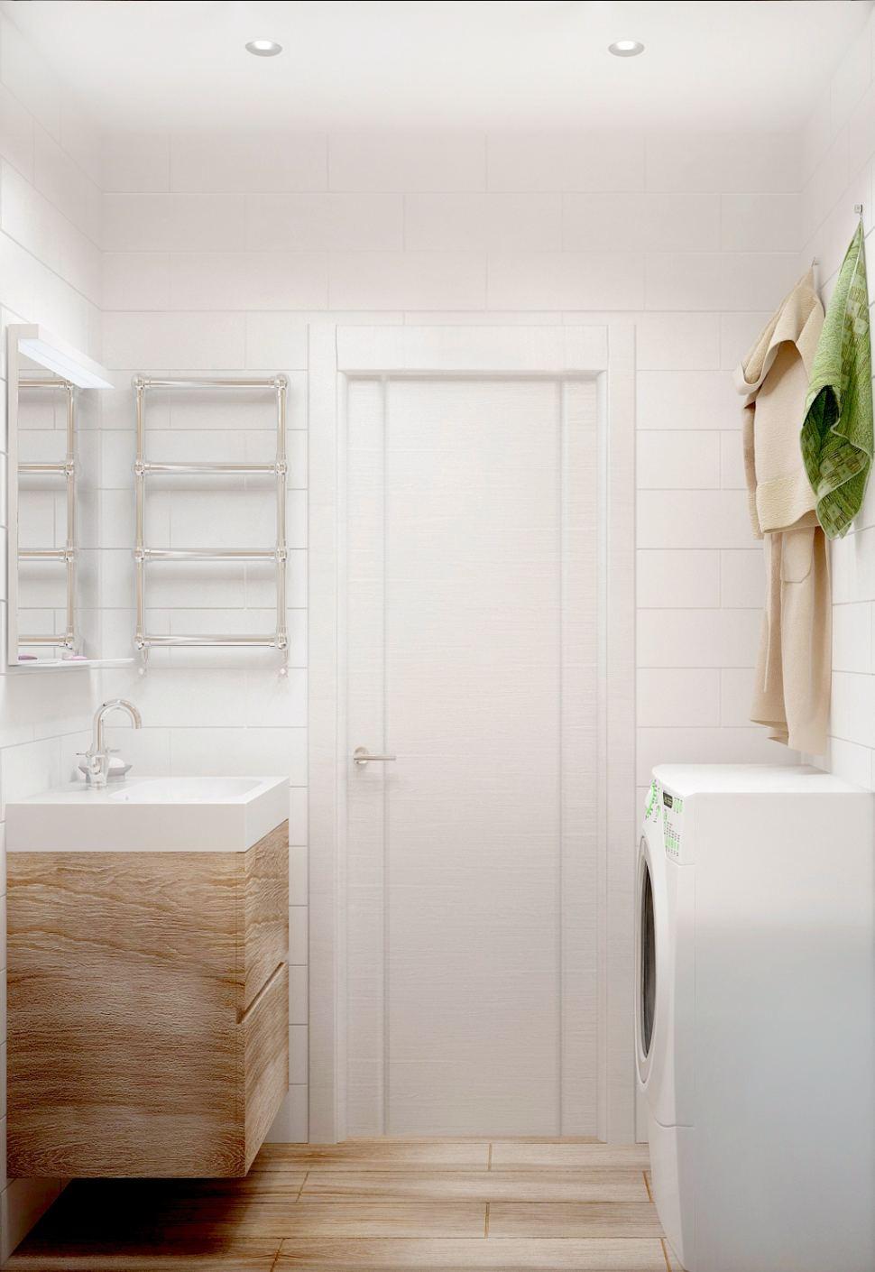 Визуализация ванной комнаты 3 кв.м, керамическая плитка под дерево, стиральная машина, полки, мойка, зеркало, полотенцесушитель