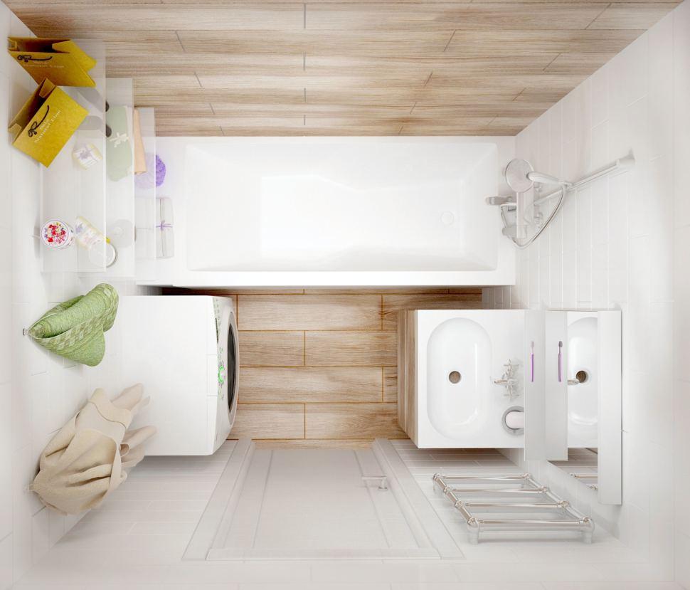 Интерьер ванной комнаты 3 кв.м , керамическая плитка под дерево, стиральная машина, белые полки, белая мойка, зеркало
