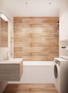 Дизайн-проект ванной комнаты 3 кв.м в белых и древесных тонах, керамическая плитка, ванна, зеркало, белый шкаф