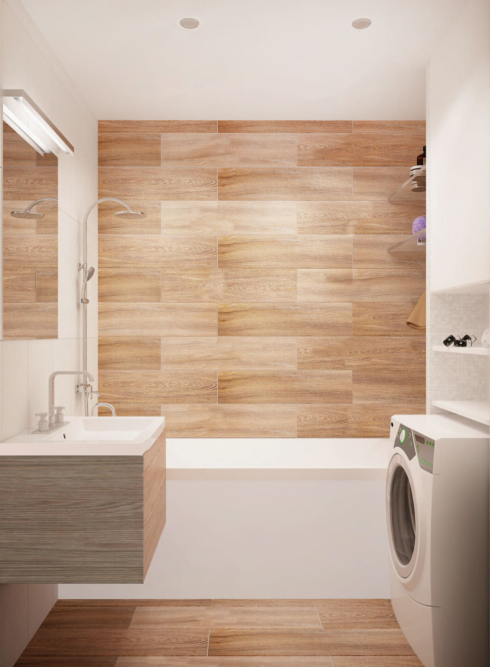 Визуализация ванной комнаты 3 кв.м в древесных и белых оттенках, ванная, стиральная машинка, подвесная тумба, зеркало, потолочные светильники