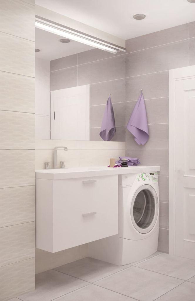 Интерьер ванной комнаты 6 кв.м в серых оттенках, раковина, зеркало, керамическая плитка, подвесная тумба, потолочные светильники