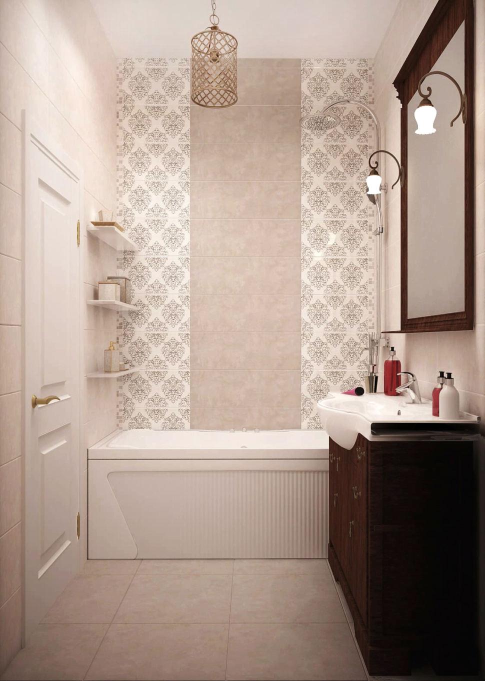 Интерьер ванной комнаты 3 кв.м в теплых тонах, ванна, зеркало в темной раме, тумба, подвесная люстра