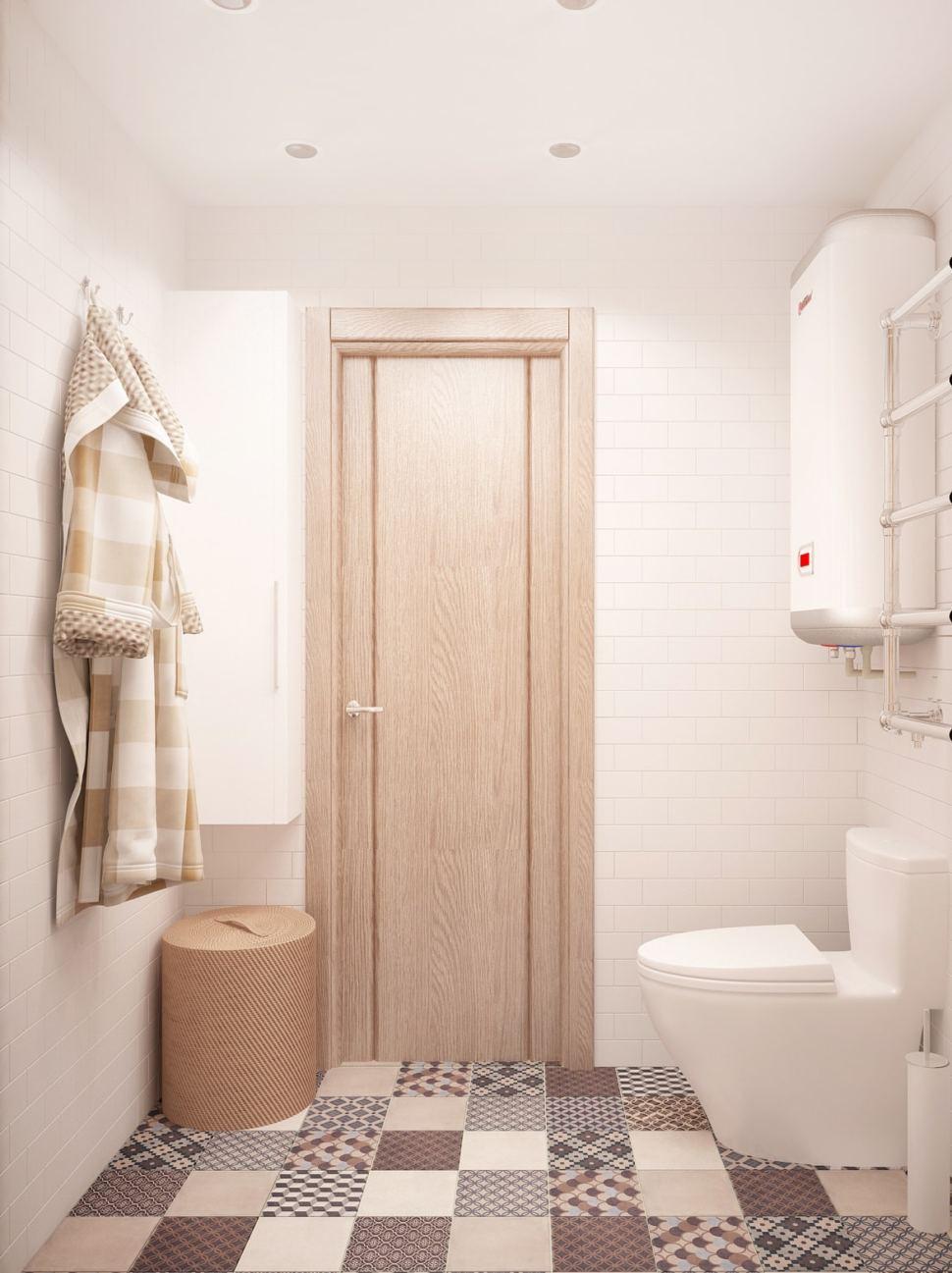 Проект ванной комнаты 3 кв.м в бежевых оттенках, керамическая плитка, потолочные светильники, плитка с орнаментом, унитаз