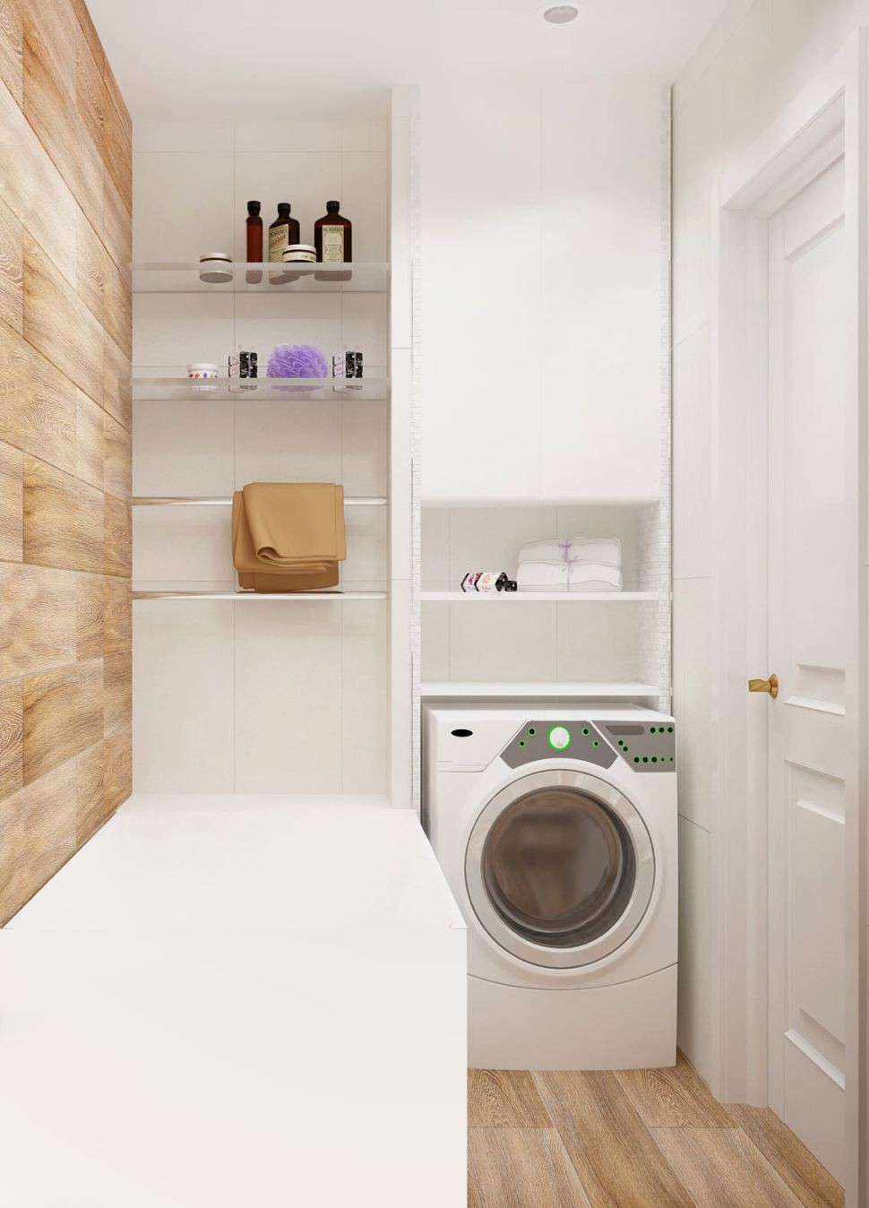 Интерьер ванной комнаты 3 кв.м в древесных и белых оттенках, ванная, белая стиральная машинка, шкаф, подвесные полки