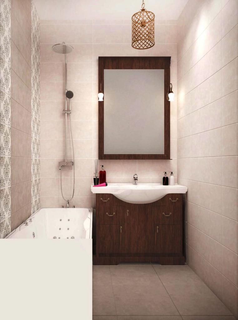 Дизайн ванной комнаты 3 кв.м в теплых тонах, ванна, зеркало в темной раме, тумба, люстра, декор