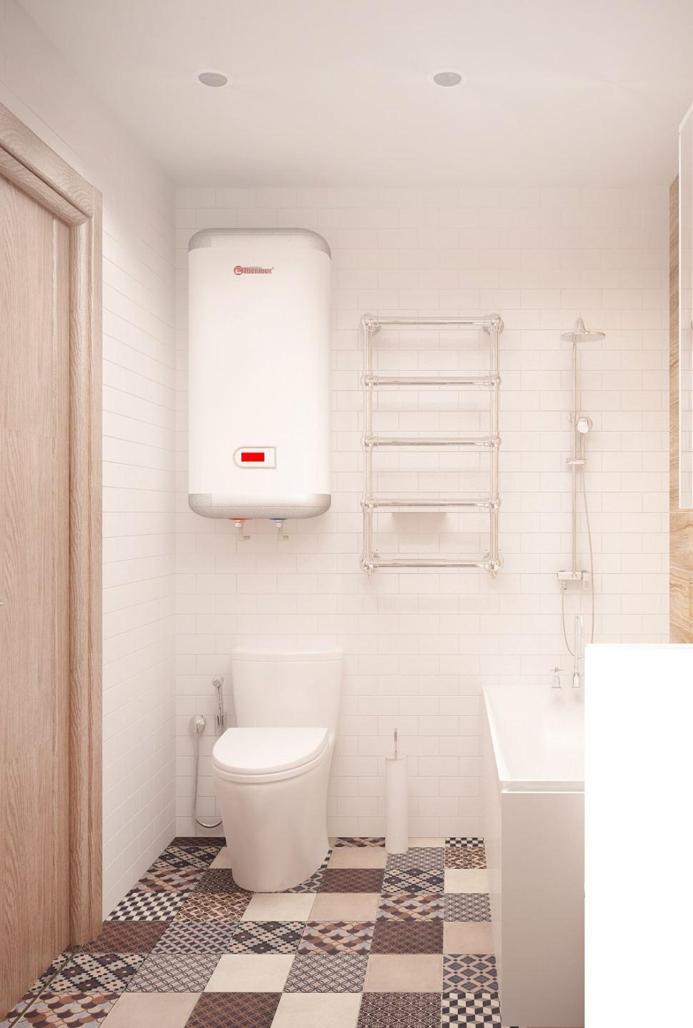 Дизайн-проект ванной комнаты 3 кв.м в бежевых оттенках, керамическая плитка, орнамент, полотенцесушитель, смеситель, стиральная машина, бойлер