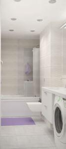 Проект ванной комнаты 6 кв.м в белых и бежевых тонах, ванна, раковина, зеркало, светильники