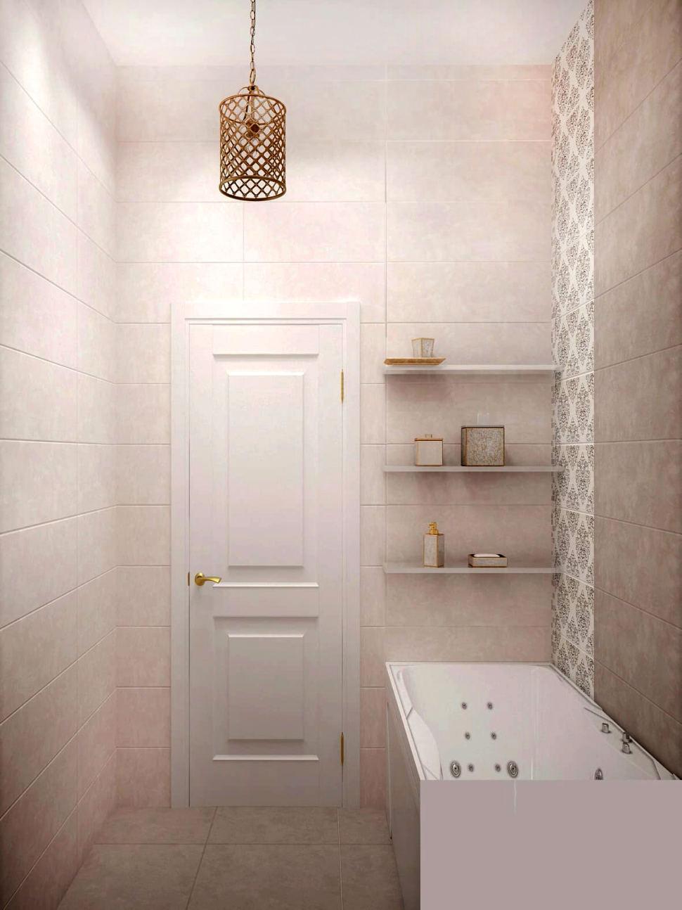 Дизайн-проект ванной комнаты 3 кв.м в теплых тонах, ванна, бежевая плитка, люстра, открытые полки