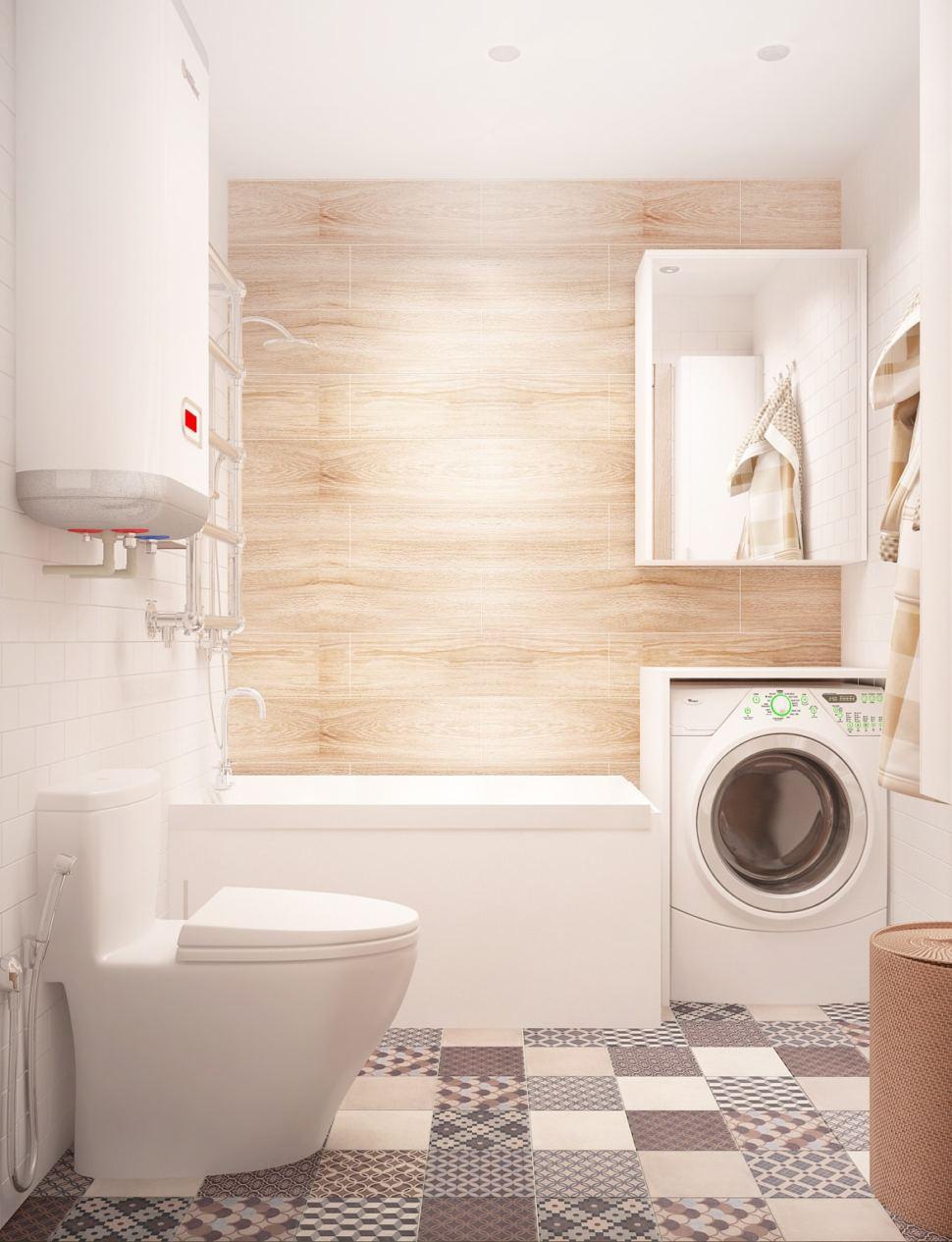 Интерьер ванной комнаты 3 кв.м в бежевых оттенках, керамическая плитка, белый унитаз, стиральная машинка, белая полка