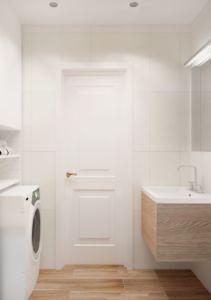 Визуализация ванной комнаты 3 кв.м в белых и древесных тонах, стиральная машинка, зеркало, раковина, тумба