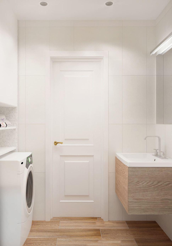 Дизайн-проект ванной комнаты 3 кв.м в древесных и белых оттенках, стиральная машинка, подвесная тумба, раковина, зеркало, шкаф