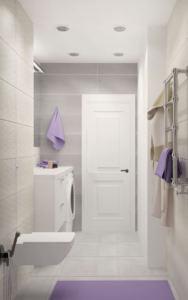 Дизайн-проект ванной комнаты 6 кв.м в белых и бежевых тонах, подвесной унитаз, белая тумба, раковина, зеркало