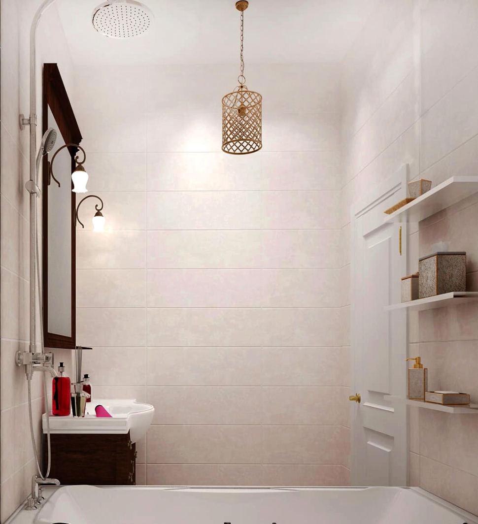 Визуализация ванной комнаты 3 кв.м в теплых тонах, ванна, зеркало, подвесная тумба, белые полки