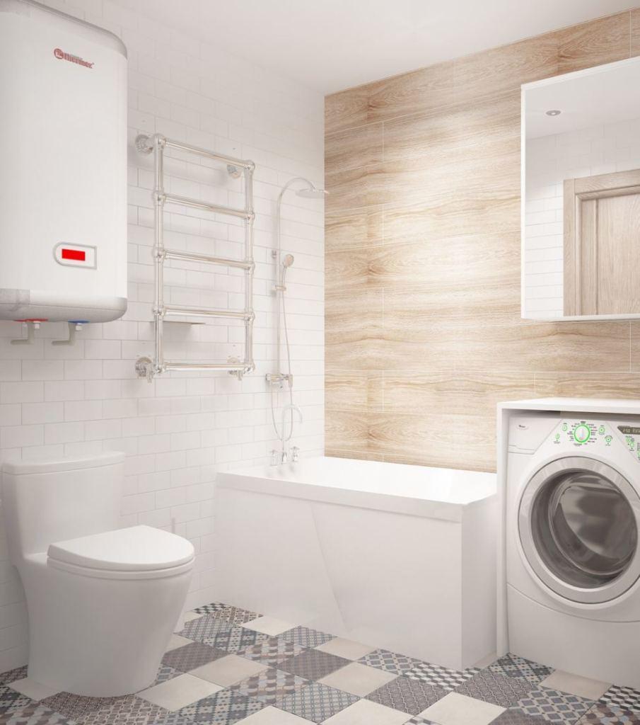 Проект ванной комнаты 3 кв.м в бежевых оттенках, керамическая плитка, плитка под дерево, стиральная машина, бойлер, ванна, унитаз