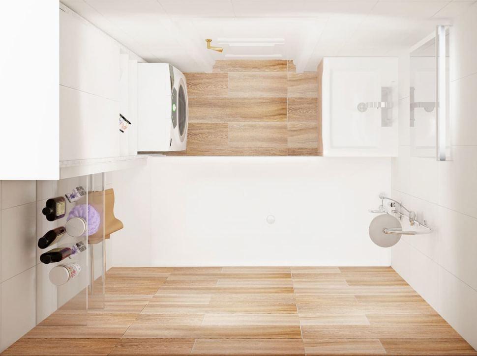 Визуализация ванной комнаты 3 кв.м в древесных и белых оттенках, подвесные полки, ванная, раковина, стиральная машинка, зеркало, белый шкаф