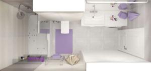 Интерьер ванной комнаты 6 кв.м в серо-бежевых тонах, ванна, стиральная машинка, сушилка, раковина, унитаз