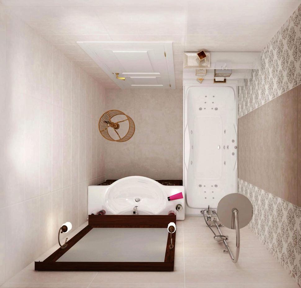Интерьер ванной комнаты 3 кв.м в теплых тонах, ванна, зеркало в темной раме, тумба, люстра