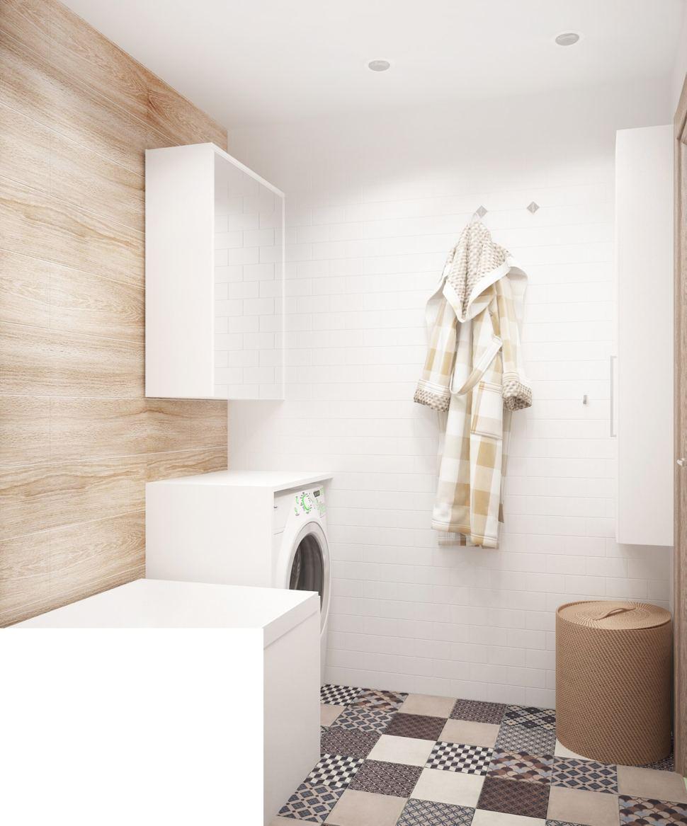 Визуализация ванной комнаты 3 кв.м с светлых тонах, ванна, стиральная машинка, подвесная полка, плитка