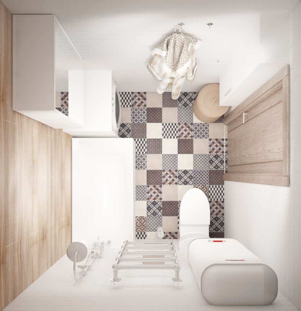 Интерьер ванной комнаты 3 кв.м в бежевых оттенках, керамическая плитка, орнамент, плитка под дерево, стиральная машина, шкафчик
