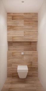 Дизайн-проект санузла 2 кв.м в белых тонах, плитка, потолочные светильники, белый унитаз