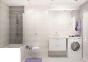 Дизайн-проект ванной комнаты 6 кв.м в лавандовых тонах, ванна, унитаз, раковина, зеркало, стиральная машинка
