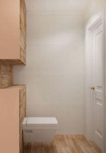 Проект санузла 2 кв.м в древесных тонах, белый унитаз, бежевая керамическая плитка, потолочные светильники