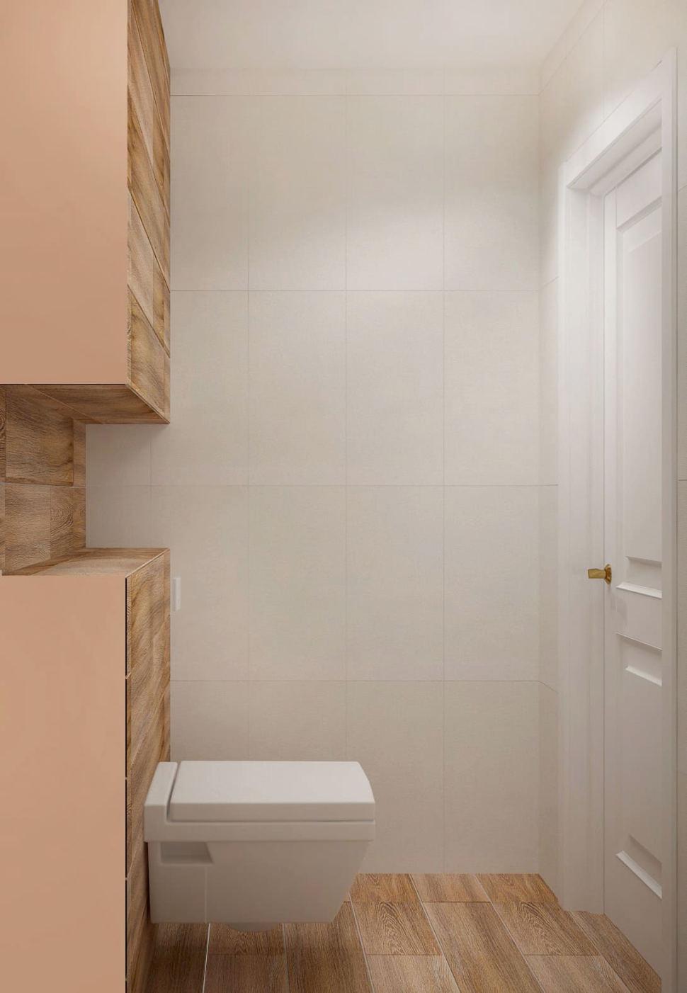Дизайн-проект санузла 2 кв.м в древесных и белых оттенках, плитка, ламинат, светильник, унитаз