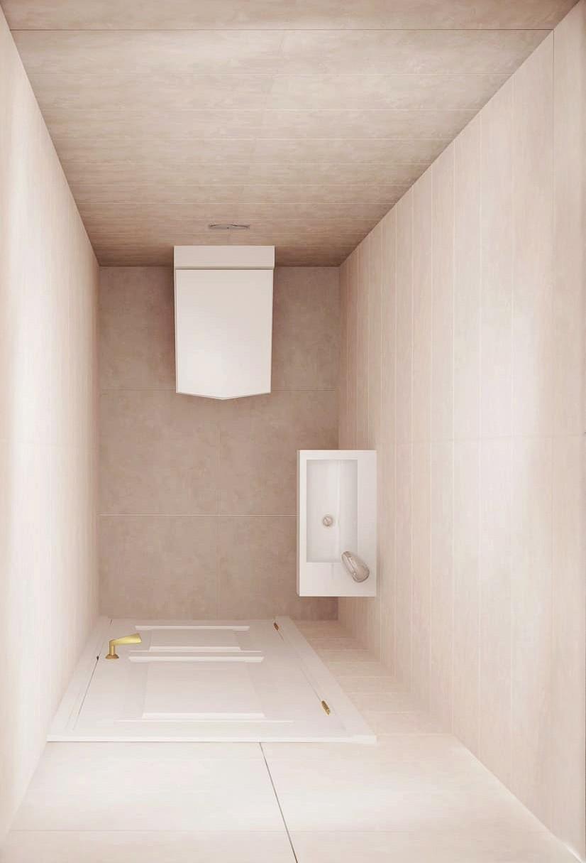 Проект санузла 2 кв.м в теплых тонах, санузел, унитаз, мойка для рук