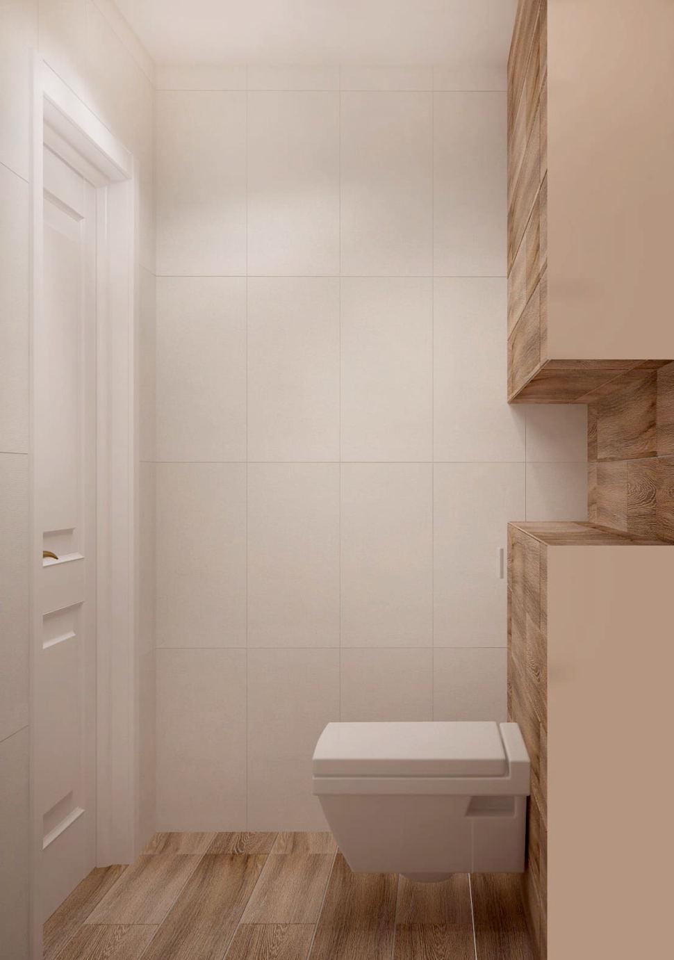 Визуализация санузла 2 кв.м в древесных и белых оттенках, туалет, плитка, светильник