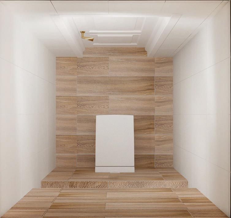 Визуализация санузла 2 кв.м в древесных и белых оттенках, белый подвесной унитаз, потолочные светильники, ламинат, плитка