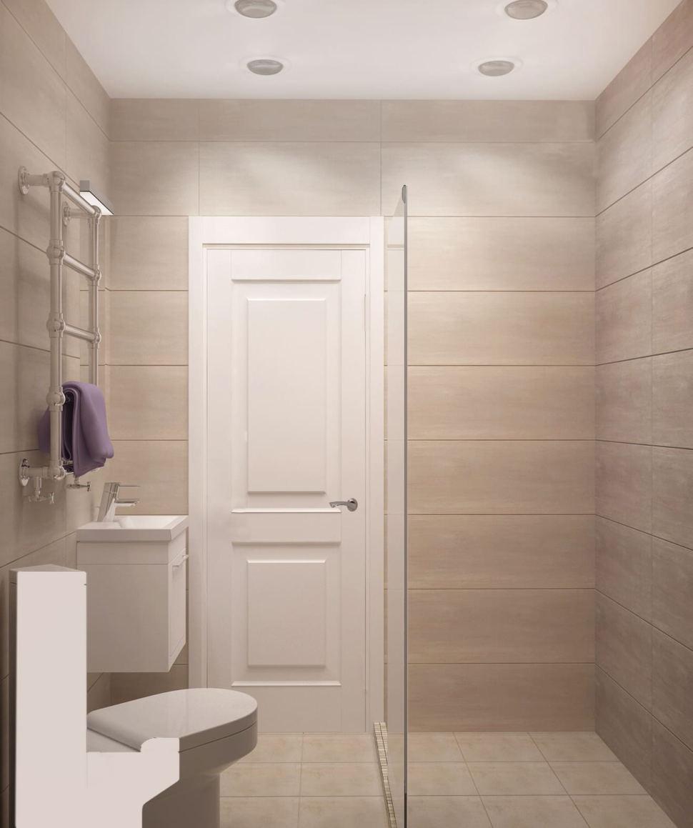 Визуализация санузла 3 кв.м в белых и бежевых тонах, потолочные светильники, сушилка, душ, раковина