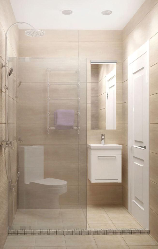 Визуализация душевой 3 кв.м в бежевых оттенках, мойка, унитаз, зеркало, керамическая плитка, керамический гранит, душевая