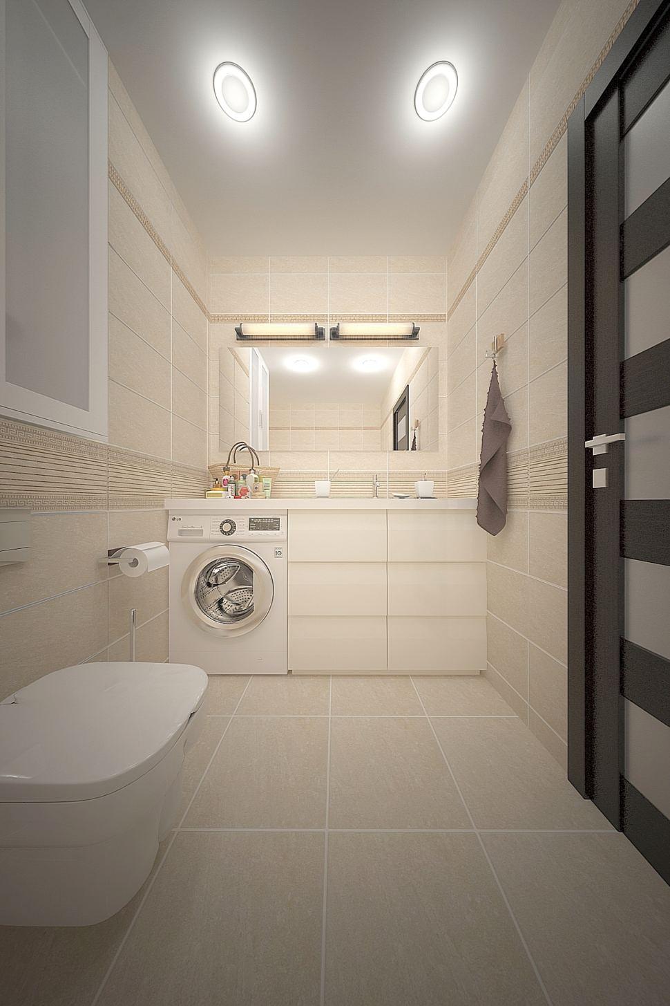 Проект ванной комнаты 3 кв.м в бежевых тонах, межкомнатная дверь, белый шкаф, стиральная машина, тумба, мойка, зеркало