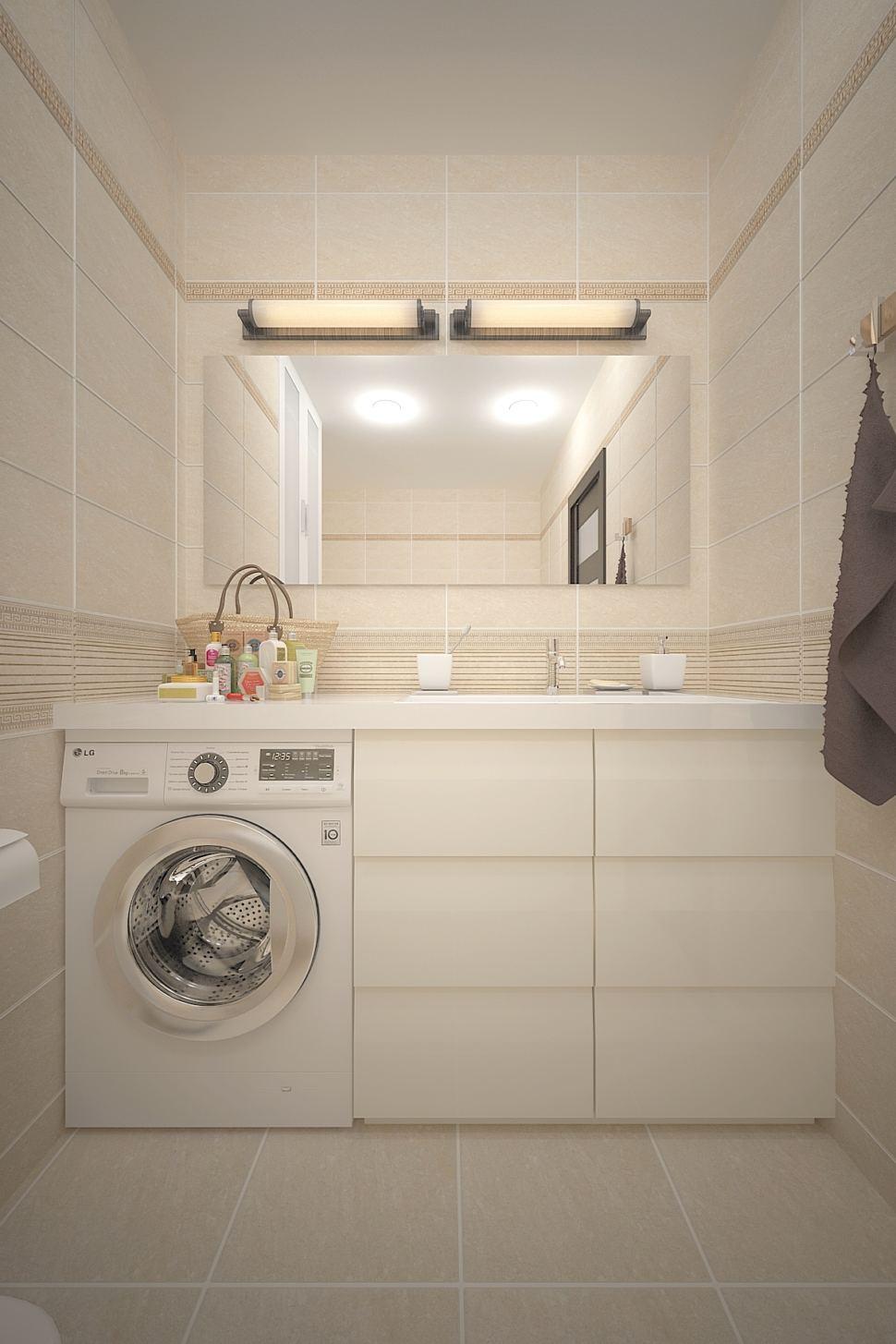 Проект ванной комнаты 3 кв.м в бежевых тонах, белый шкаф, стиральная машина, тумба, мойка, зеркало, керамический гранит