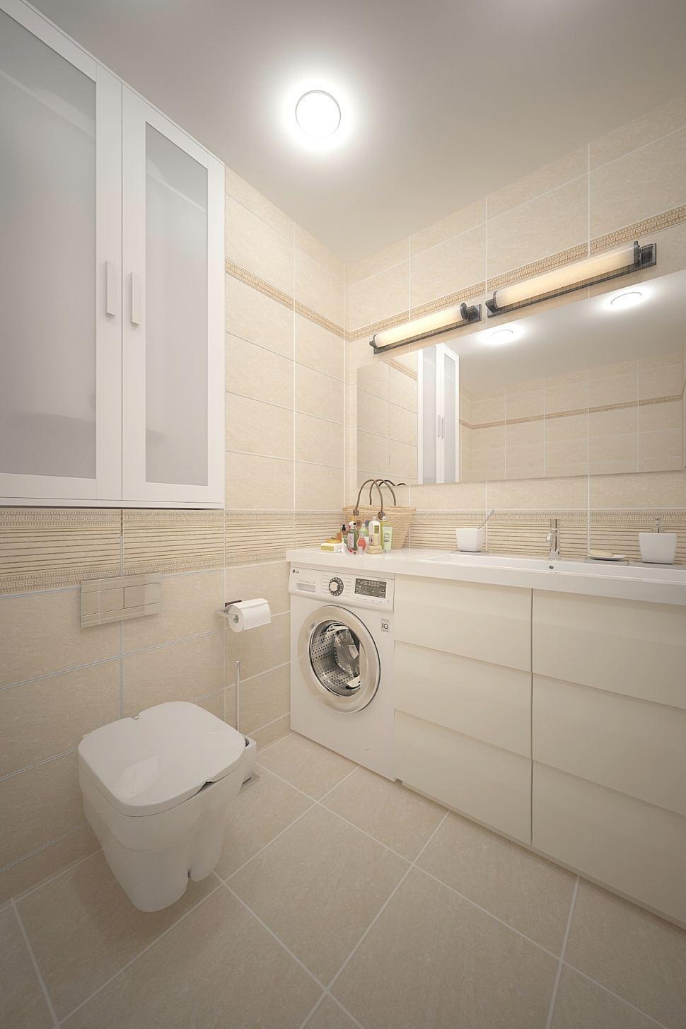 Интерьер ванной комнаты 3 кв.м в бежевых тонах, белый шкаф, унитаз, стиральная машина, тумба, мойка, большое зеркало
