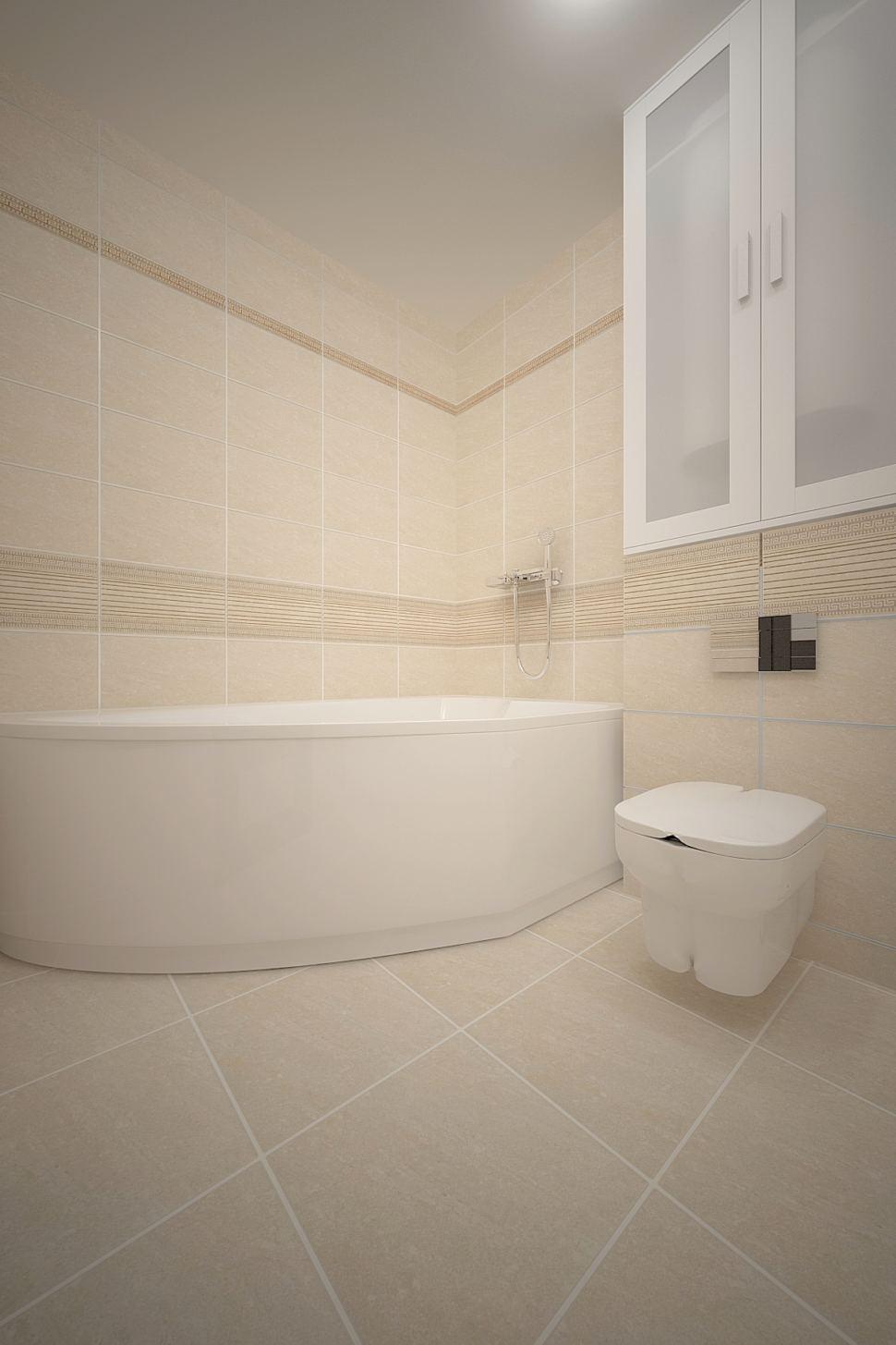 Дизайн-проект ванной комнаты 3 кв.м в бежевых тонах, керамическая плитка бежевая, белый шкаф, унитаз, ванна