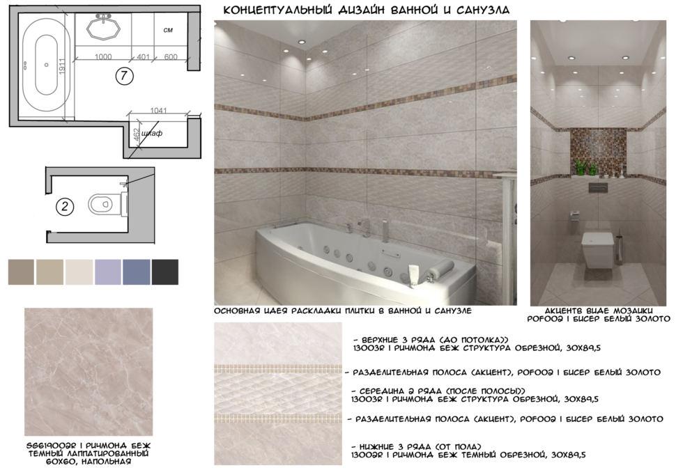 Концептуальный коллаж ванной комнаты 6 кв.м, плитка под мрамор, ванна, мойка, стиральная машина, унитаз