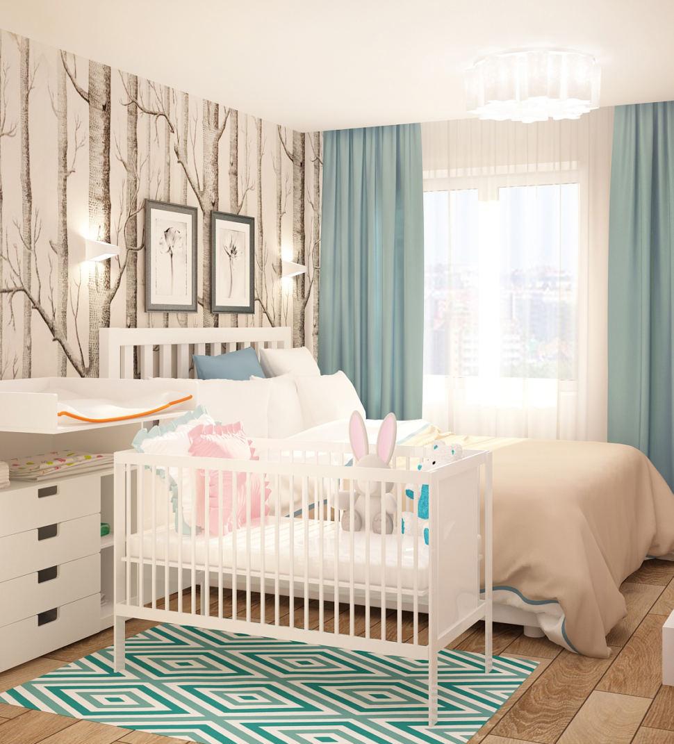 Интерьер спальни 13 кв.м в светлых тонах с бирюзовыми акцентами, кровать, фотообои, колыбель, пеленальный столик, ковер