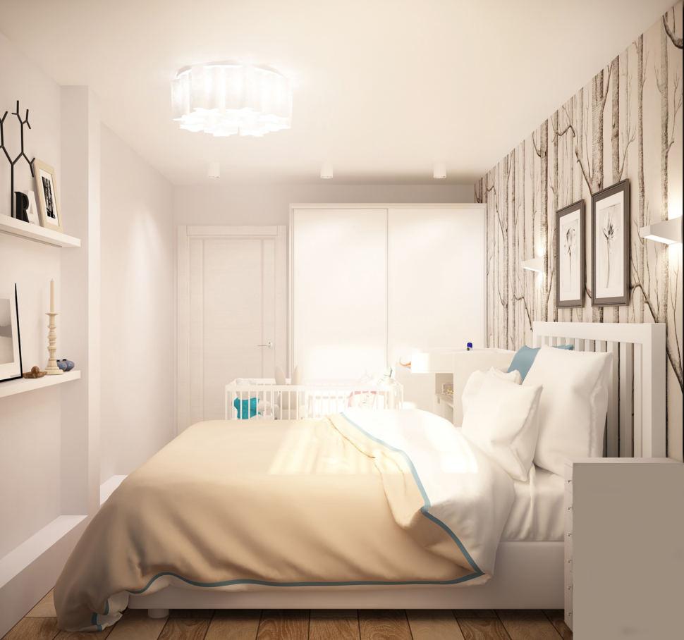 Визуализация спальни 13 кв.м в светлых тонах с бирюзовыми акцентами, белый шкаф, прикроватная тумба, полки, потолочные светильники, кровать