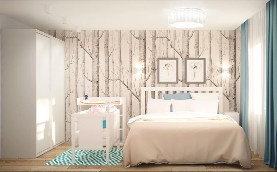 Проект спальни 13 кв.м в светлых тонах с бирюзовыми акцентами, кровать, обои, колыбель, белый пеленальный столик, белый шкаф