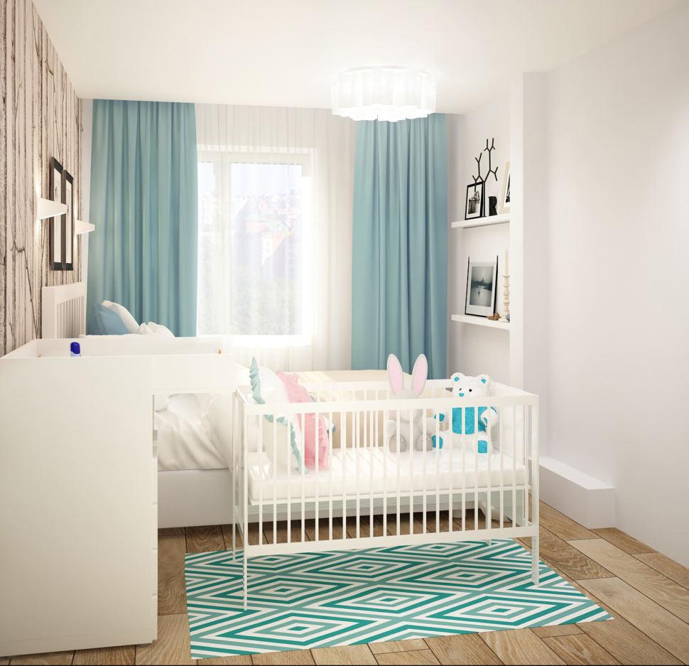Интерьер спальни 13 кв.м в светлых тонах с бирюзовыми акцентами, кровать, обои, колыбель, белые полки, пеленальный столик, портьеры