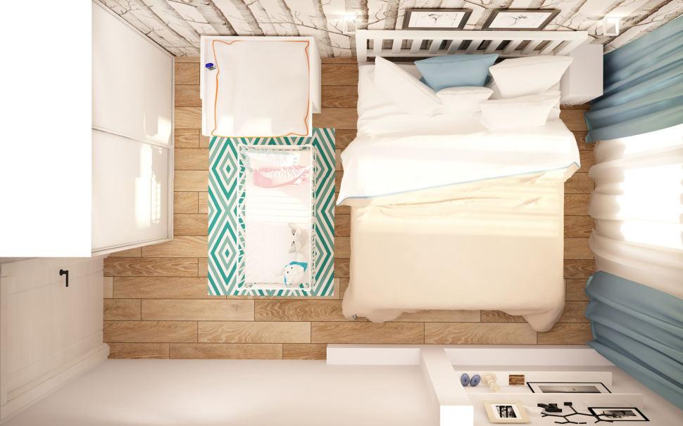 Дизайн-проект спальни 13 кв.м в светлых тонах с бирюзовыми акцентами, кровать, обои, колыбель, пеленальный столик, коврик