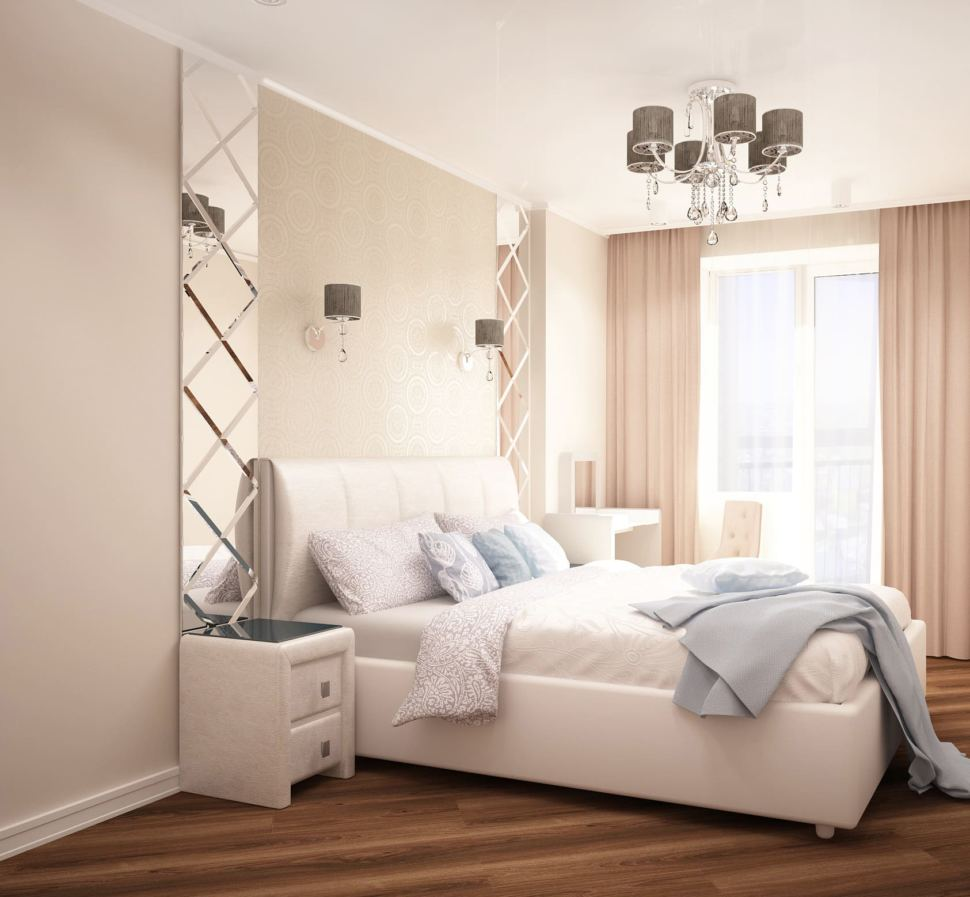 Визуализация спальни 12 кв.м в молочных тонах, люстра, зеркало, белые прикроватные тумбочки, люстра, бежевые портьеры, туалетный столик