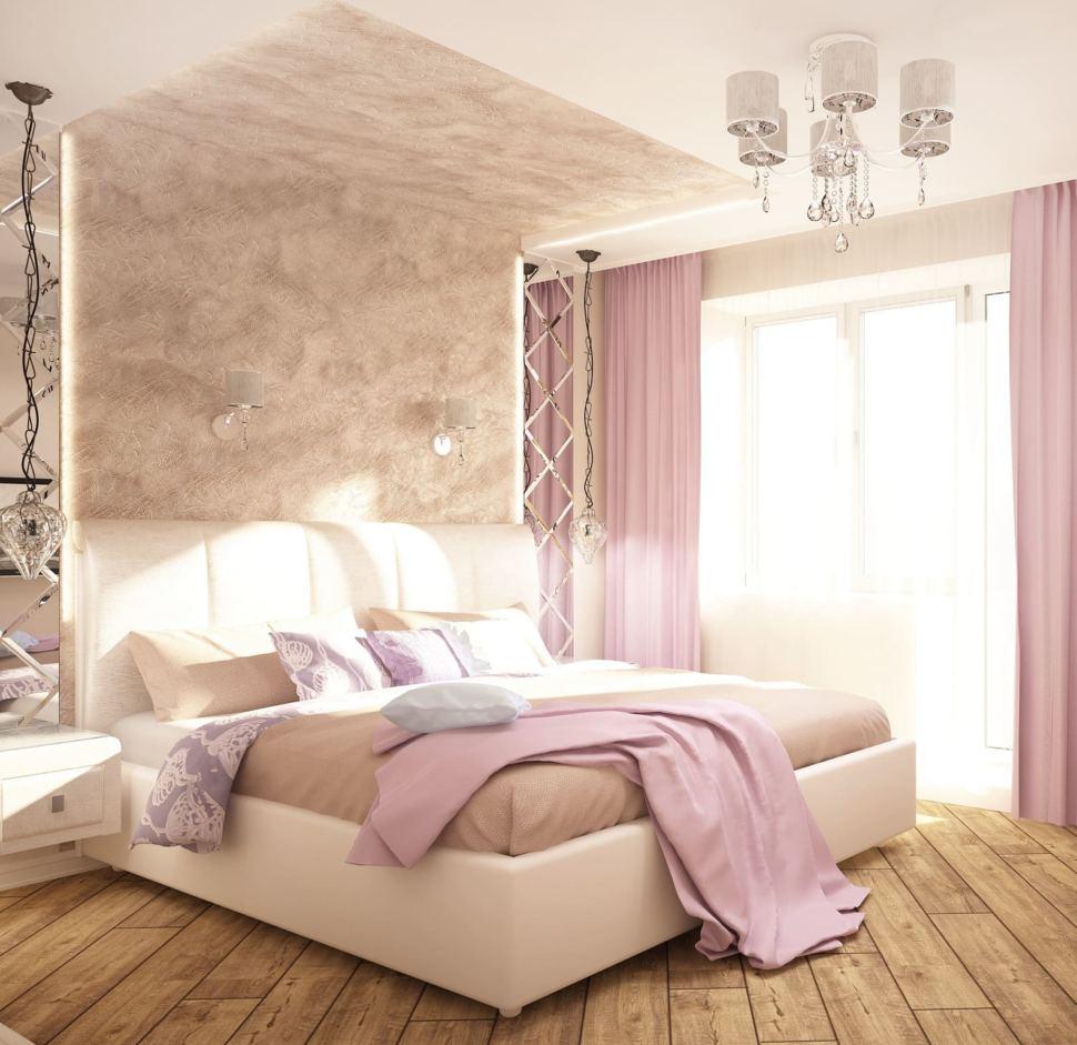 Визуализация спальни 11 кв.м в нежных тонах с лавандовыми оттенками, зеркало, розовые портьеры, люстра, кровать, прикроватные тумбы