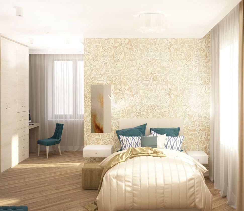 Дизайн-проект спальни 22 кв.м в бежевых тонах с синими акцентами, паркет, зеркало, подвесная прикроватная тумбочка, бежевый пуф,