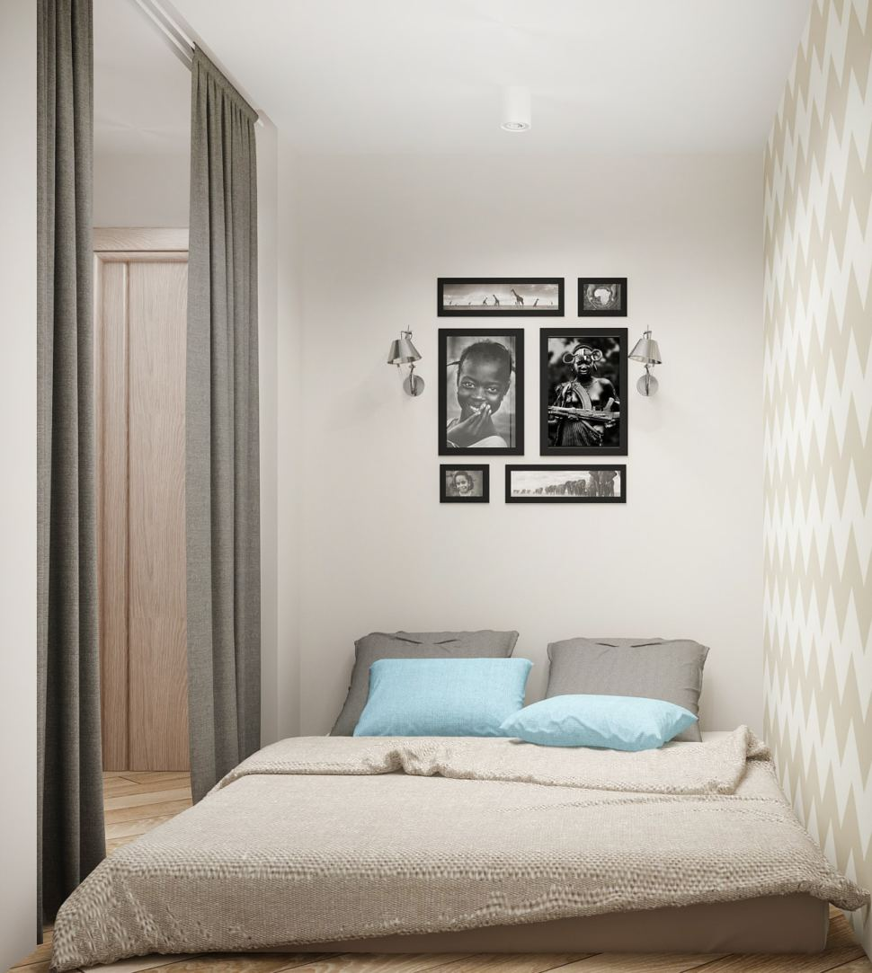 Визуализация спальни 5 кв.м в серых тонах, матрац, текстиль в бежевых тонах, обои, бра, декор, декоративная перегородка