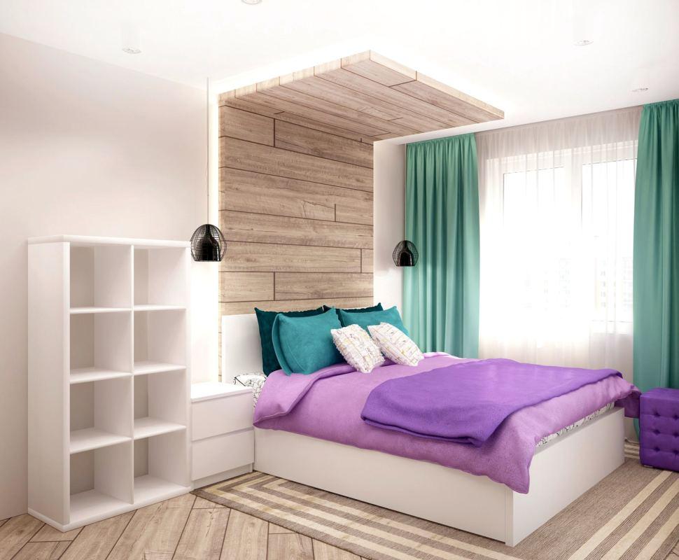 Дизайн-проект спальни 15 кв.м в бирюзовых и белых тонах, белый стеллаж, прикроватная тумбочка, подвесные светильники