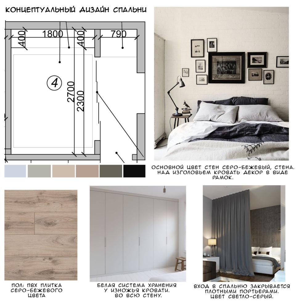 Концептуальный коллаж спальни 5 кв.м в светлых тонах, пвх плитка, белый шкаф, кровать, элементы декора