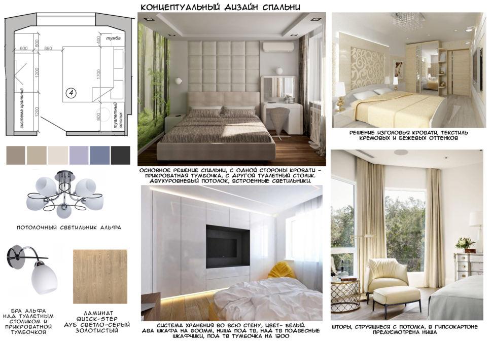 Концептуальный коллаж спальни, люстра, ламинат, кровать, туалетный столик, бра, портьеры